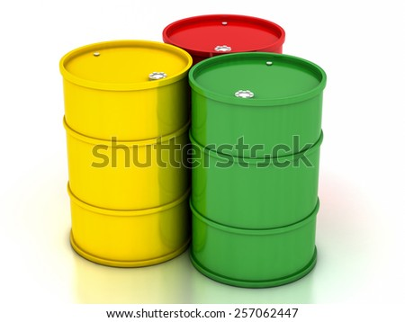 chemical variegated barrels on a white background