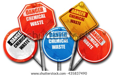 Chemical waste sign, 3D rendering, rough street sign collection - stock photo