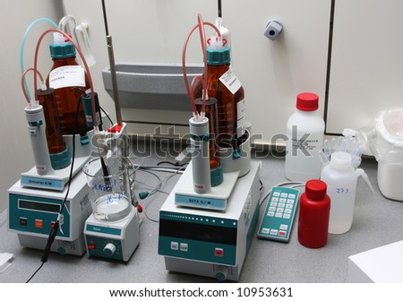 chemicals and equipment in a real life pharmaceuticals laboratory