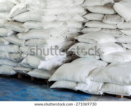 Chemicals bag in the warehouse of industrial factory. - stock photo