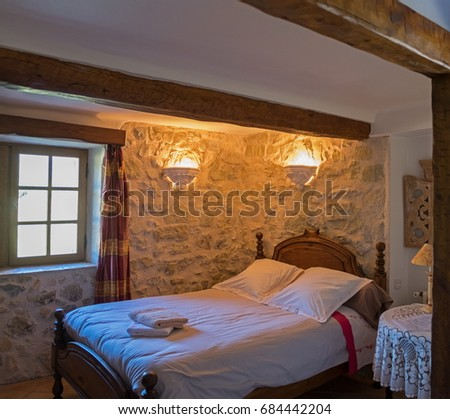 CHEMIN DE LA PINEDE, FRANCE - JUNE 20, 2017: Typical provence village hotel (B&B) room interior. France