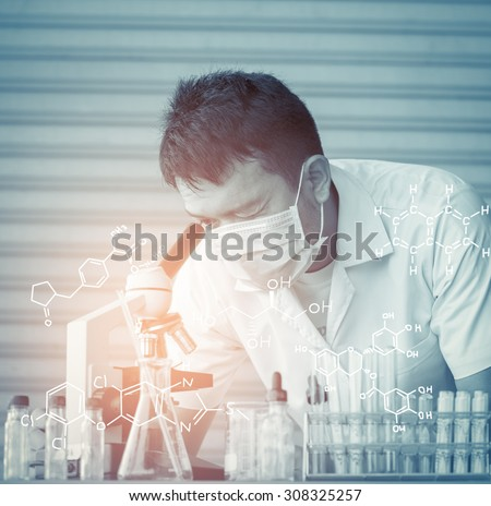 Chemist is analyzing sample in laboratory