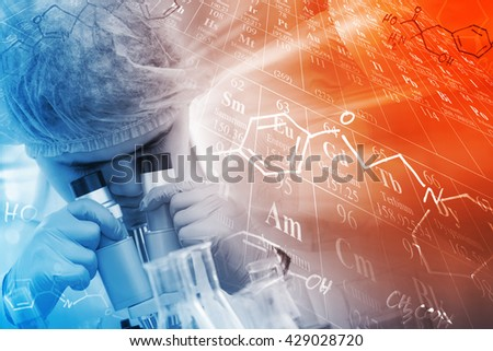 chemist using microscope to analyze the sample in laboratory, with chemical equations and periodic table background. - stock photo