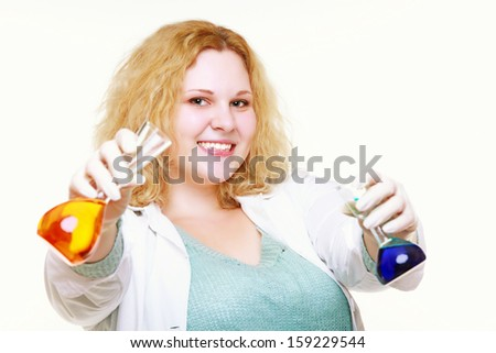 chemist woman or girl student or female laboratory assistant or scientific researcher with chemical glassware test flask. Experiment, research in progress, isolated on white background - stock photo