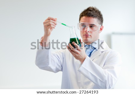 Chemist working with a test tube