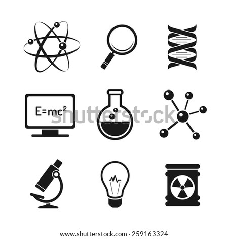 Chemistry and bio technology science icons set - stock photo
