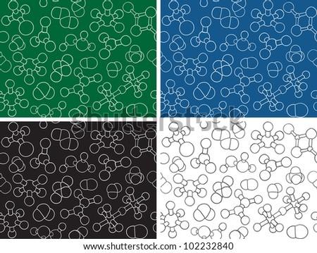 Chemistry background - seamless pattern molecule models, hand-drawn illustration - stock photo