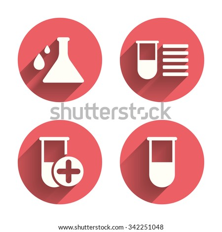 Chemistry bulb with drops icon. Medical test signs. Laboratory equipment symbols. Pink circles flat buttons with shadow.  - stock photo