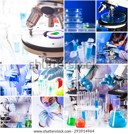 Chemistry collage from ten photos about reseach - stock photo
