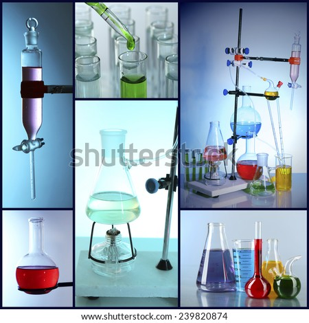 Chemistry concept. Lab Collage - stock photo