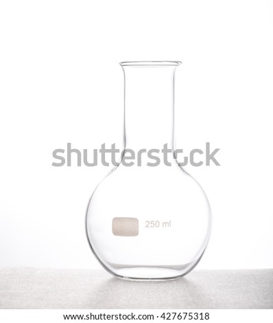 Chemistry flask Chemical laboraory glassware with white background.