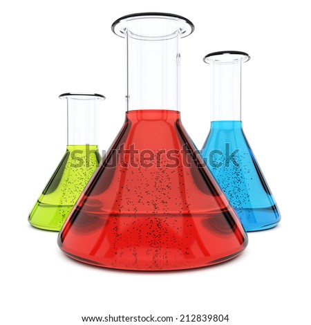 Chemistry flasks with colorful liquid isolated on white background. 3d rendering illustration - stock photo