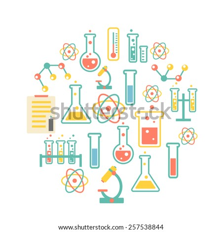 chemistry icons background for  biology and medical research posters - stock photo