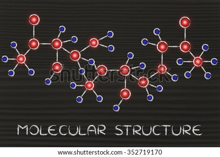 chemistry inspired illustration of molecular structures with glowing centres (atoms) and connections