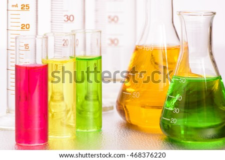 chemistry laboratory with glassware and test tubes