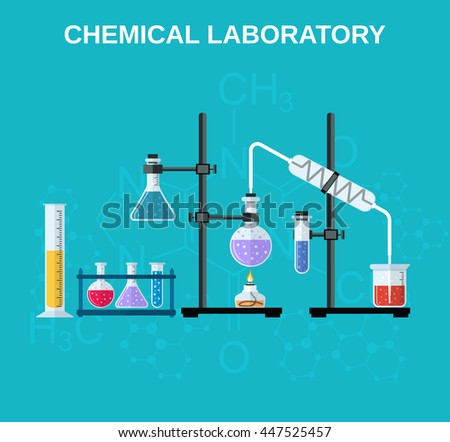 Chemistry laboratory workspace and science equipment concept. The chemical background, banner, cover. Science, education, chemistry, experiment, laboratory concept. flat design Raster version