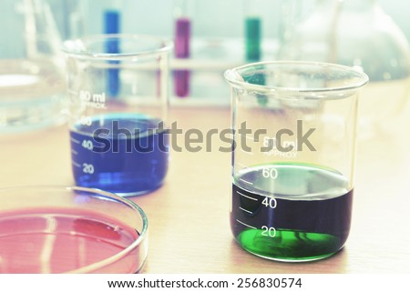 chemistry research at science lab - stock photo