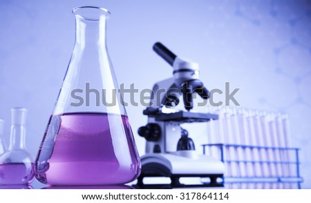 Chemistry science, Laboratory glassware background - stock photo