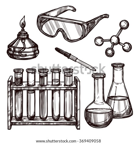 Chemistry Tools Hand Drawn Set  - stock photo