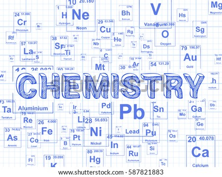 Chemistry word on periodic table symbols stock illustration chemistry word on periodic table symbols graph paper background urtaz Gallery