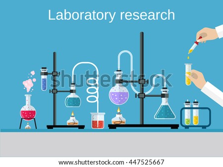 Chemists scientists equipment. flat design workspace concept. Chemistry and physics biology infographic icons. Laboratory lab with alembic vial hourglass dropper, illustration Raster version