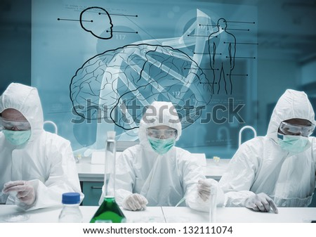 Chemists working in protective suit with futuristic interface showing DNA, brain and human body - stock photo