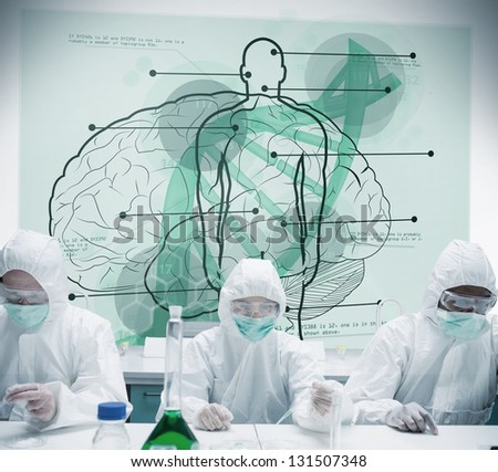 Chemists working in protective suit with futuristic interface showing scientific diagrams with body, brain and dna - stock photo