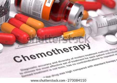 Chemotherapy - Medical Concept. On Background of Medicaments Composition - Red Pills, Injections and Syringe. - stock photo