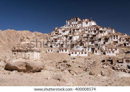 Chemrey monastery in hymalayas valley of Ladakh, India - stock photo