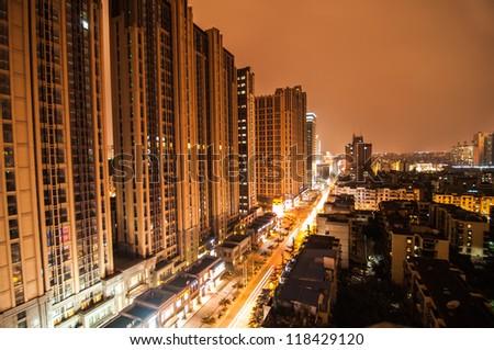 Chengdu at night - stock photo
