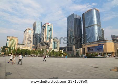 CHENGDU,CHINA - Aug 3,2014: tianfu square,business center at chengdu,china. - stock photo