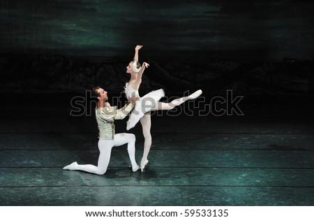 CHENGDU, CHINA - DECEMBER 23: Russian royal ballet perform Swan Lake ballet at Jinsha theater December 23, 2008 in Chengdu, China - stock photo