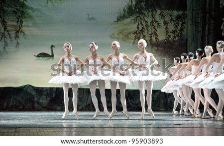 "CHENGDU, CHINA - DECEMBER 25: Russian royal ballet's performance ""Swan Lake"" ballet at Jinsha theater December 25, 2010 in Chengdu, China."