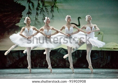 "CHENGDU, CHINA - DECEMBER 25: Russian royal ballet's performance ""Swan Lake"" ballet at Jinsha theater on December 25, 2010 in Chengdu, China."