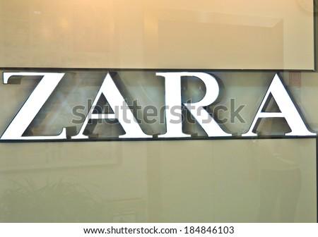CHENGDU,CHINA - NOV 19,2011:Zara logo on the wall in chengdu,china.Photo is taken on 19 Nov 2011.