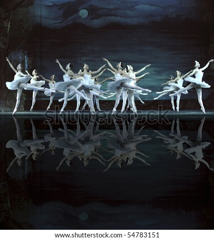 CHENGDU - DECEMBER 24: Russian royal ballet perform Swan Lake ballet at Jinsha theater December 24, 2008 in Chengdu, China. - stock photo