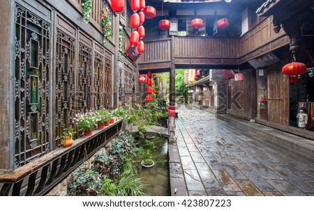 CHENGDU, SICHUAN/CHINA-MAY 14: Jinli old streets scenery-Early morning after the rain on May 14, 2016 in Chengdu, Sichuan, China. The streets are famous tourist spots in Chengdu.