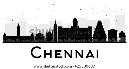 Chennai City skyline black and white silhouette. Simple flat concept for tourism presentation, banner, placard or web site. Business travel concept. Isolated Chennai