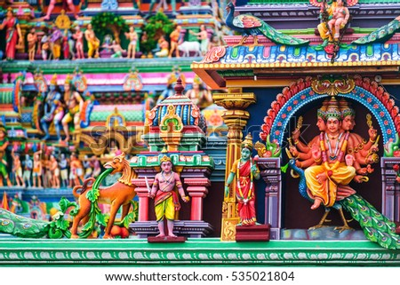 Chennai, India. Close view of religious figures of famous Arulmigu Kapaleeswarar Temple in Chennai the capital of Tamil Nadu, India