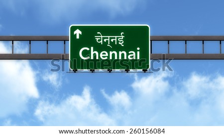 Chennai India Highway Road Sign - stock photo