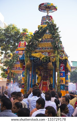 CHENNAI, INDIA - March 24: kapaleeshwar temple car festival ( Therottam ) held on March 24, 2013 in MYLAPORE, CHENNAI, INDIA