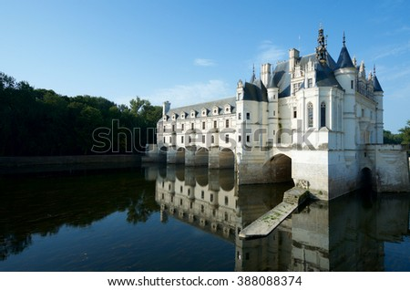 """Chenonceau Castle, Loire Valley, France. Known as """"the castle of the ladies"""" was built in 1513 by Katherine Briconnet. - stock photo"""