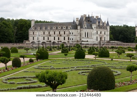 Chenonceau, France - June 20, 2013: Castle of Chenonceau. Known as the castle of the ladies was built in 1513  and is one of the most visited in the Loire Valley.
