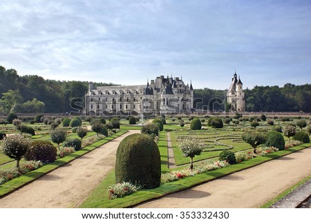 CHENONCEAU, FRANCE - OCTOBER 12, 2013: Chenonceau Castle and regular park in the Loire Valley