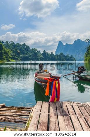 Cheo Lan Lake in the Thai Reserve - stock photo