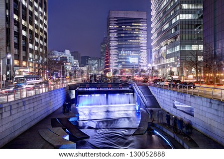 Cheonggyecheon stream in Seoul, South Korea is the result of a massive urban renewal project.