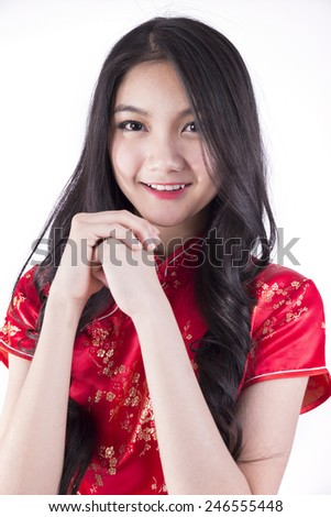 Cheongsam Red, Asian girl, white background, Isolated.