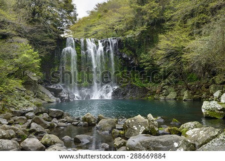Cheonjeyeon No. 2 cascade. Cheonjeyoen falls (means the pond of God) consists of 3 falls. A variety of plant life, inclued Psilotum nudun, thrives around the falls.  - stock photo