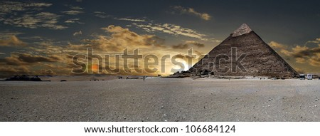 Cheops pyramid at sunset, Cairo, Egypt - stock photo