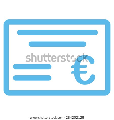 Cheque from BiColor Euro Banking Icon Set. Glyph style: flat, blue symbol, rounded angles, white background. - stock photo